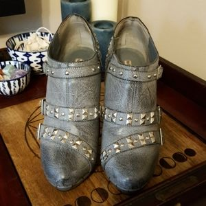 Not Rated Gray Studded Stiletto Booties